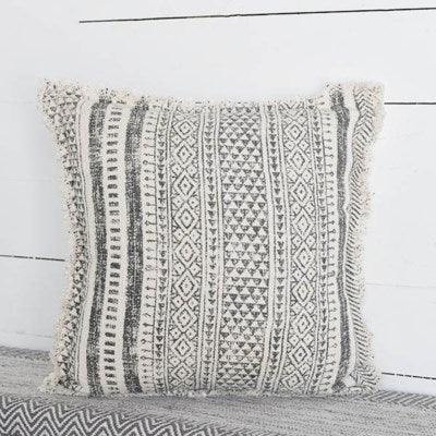 "20"" Natural Grey Boho Designed Pillow"