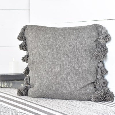 "20"" Dark Grey Pillow with Tassels"