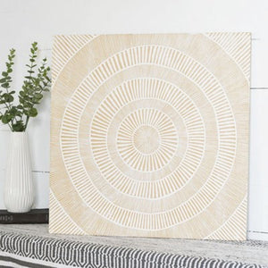 White Washed Carved Wood Wall Art