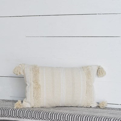 Natural and White Stripe Tassel Pillow