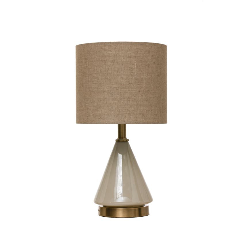 Glass Table Lamp with Linen Shade & Inline Switch