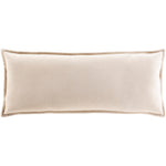 Cream Velvet Down Filled Lumbar Pillow