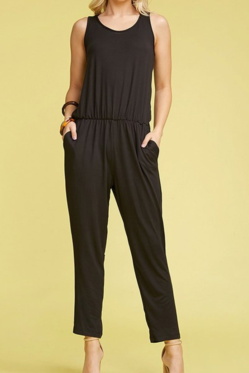 Black Sleeveless Jumpsuit with Pockets