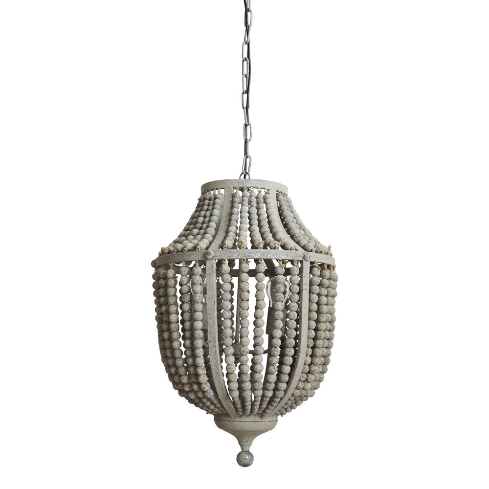 Grey Metal and Wood Beaded Chandelier