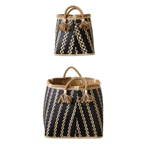 Wicker Boho Baskets with Rope Handles