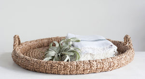 "29"" Round Decorative Braided Bankuan Tray w/ Handles"