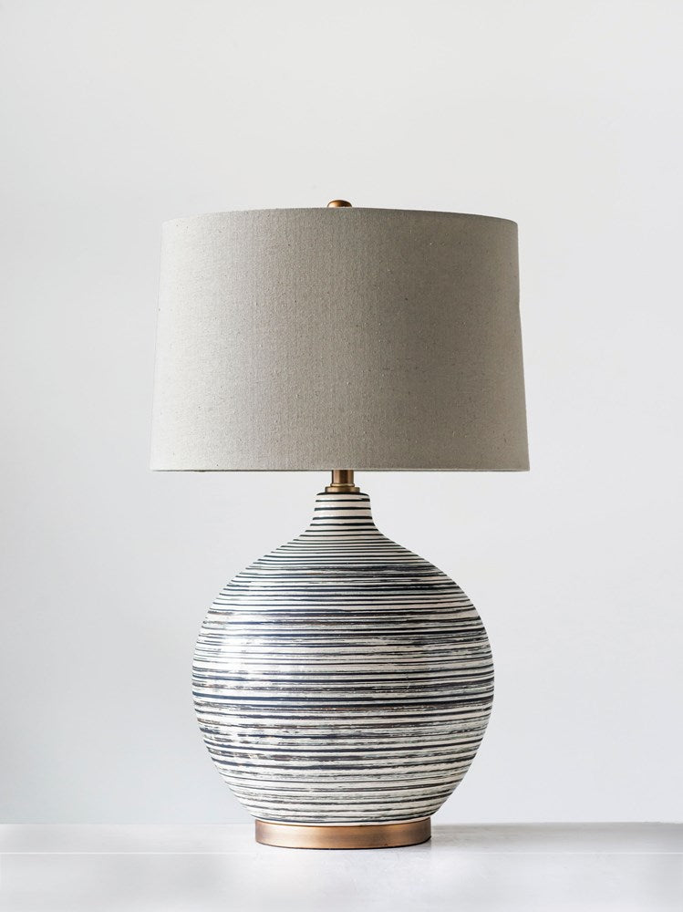 Ceramic Textured Table Lamp w/ Natural Linen Shade