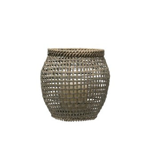 Large Grey-wash Rattan Lantern with Glass Insert