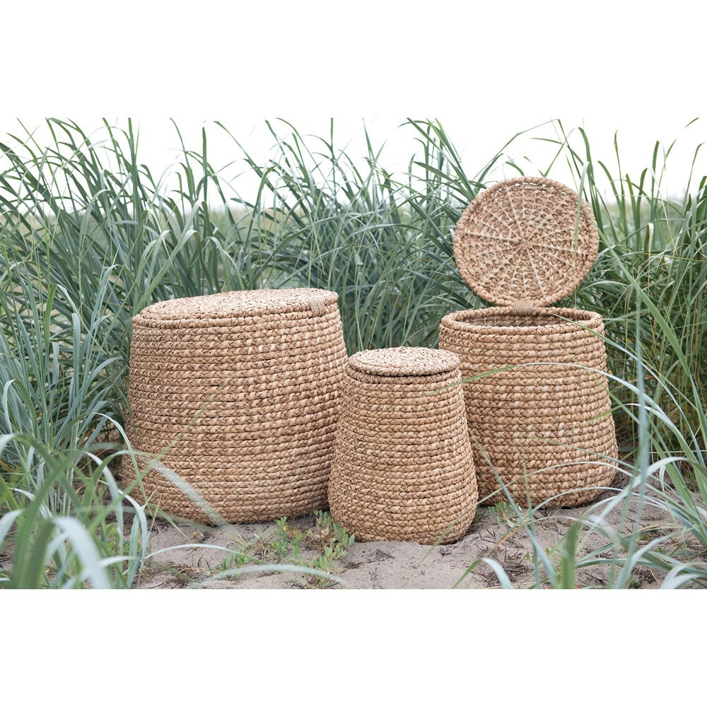 Water Hyacinth & Rattan Baskets w/ Lids
