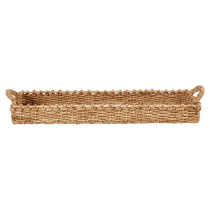 Decorative Hand-Woven Seagrass Tray w/ Handles