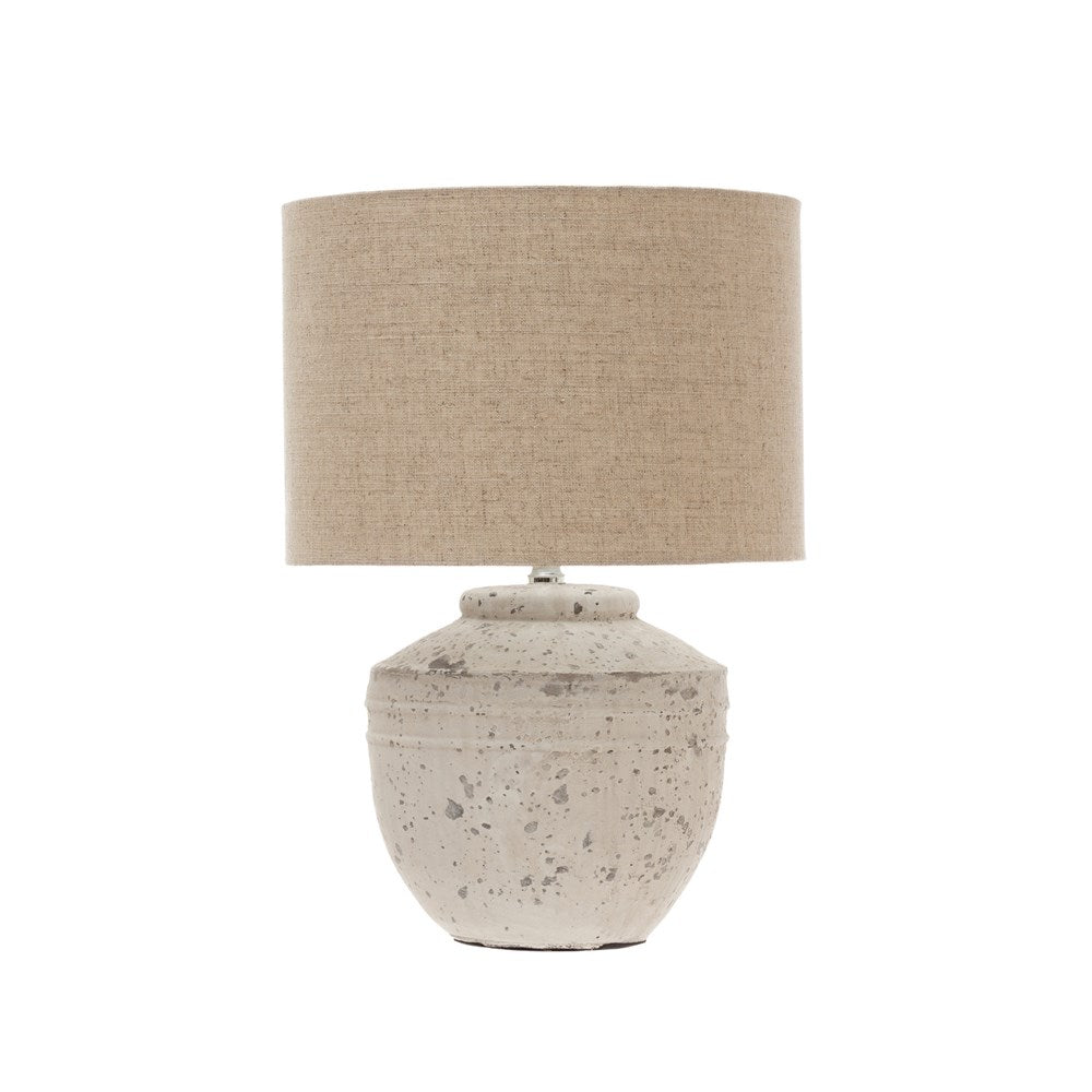 White Wash Cement Table Lamp