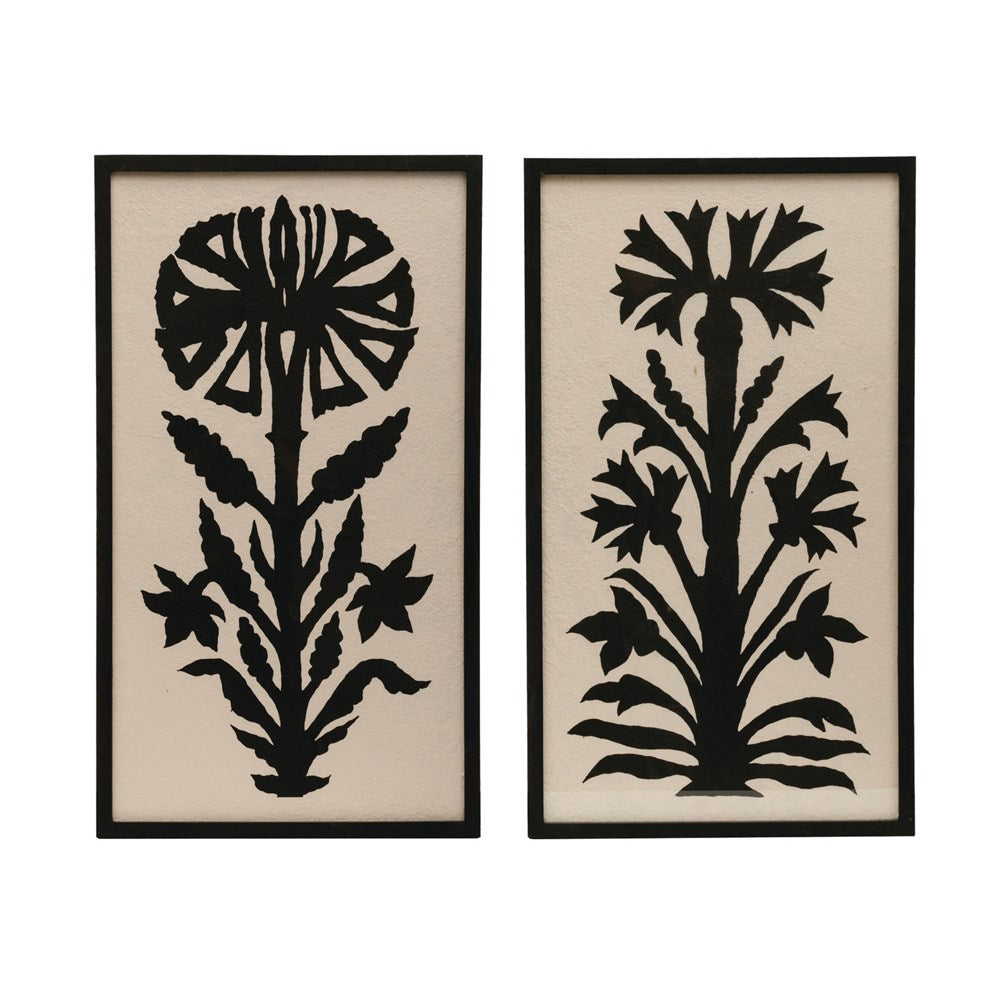 Wood Framed Wall Decor with Flower Image Set of 2