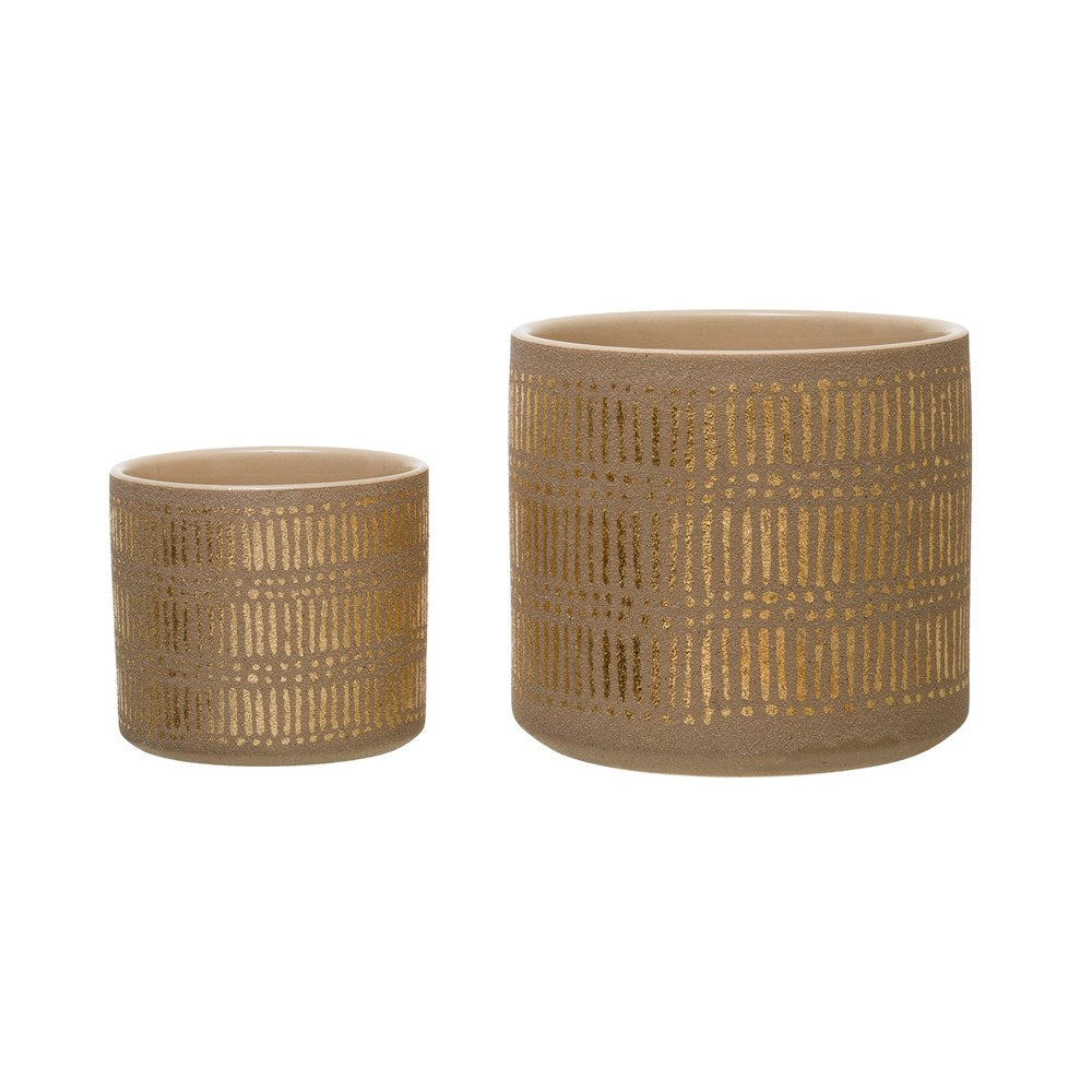 Set of 2 Gold Stoneware Planters