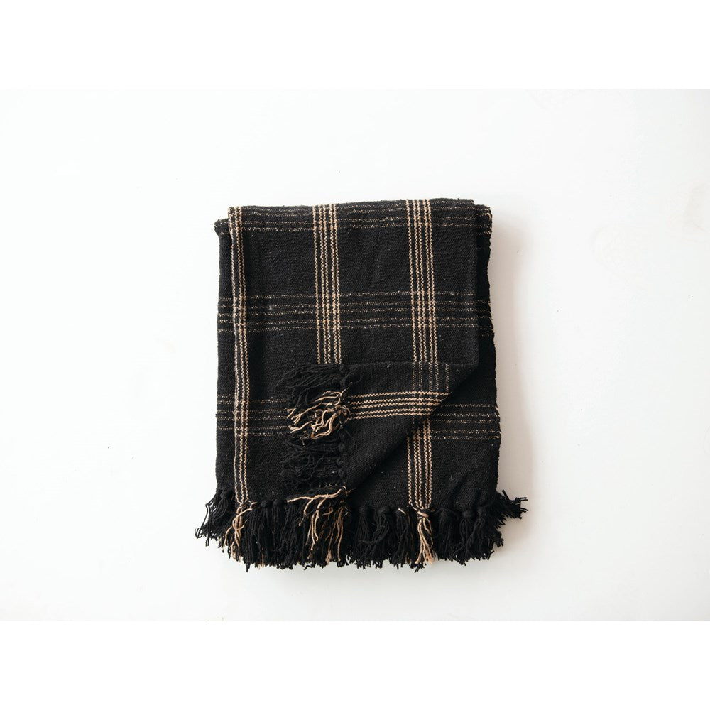 Tan & Black Woven Cotton Blend Throw with Fringe