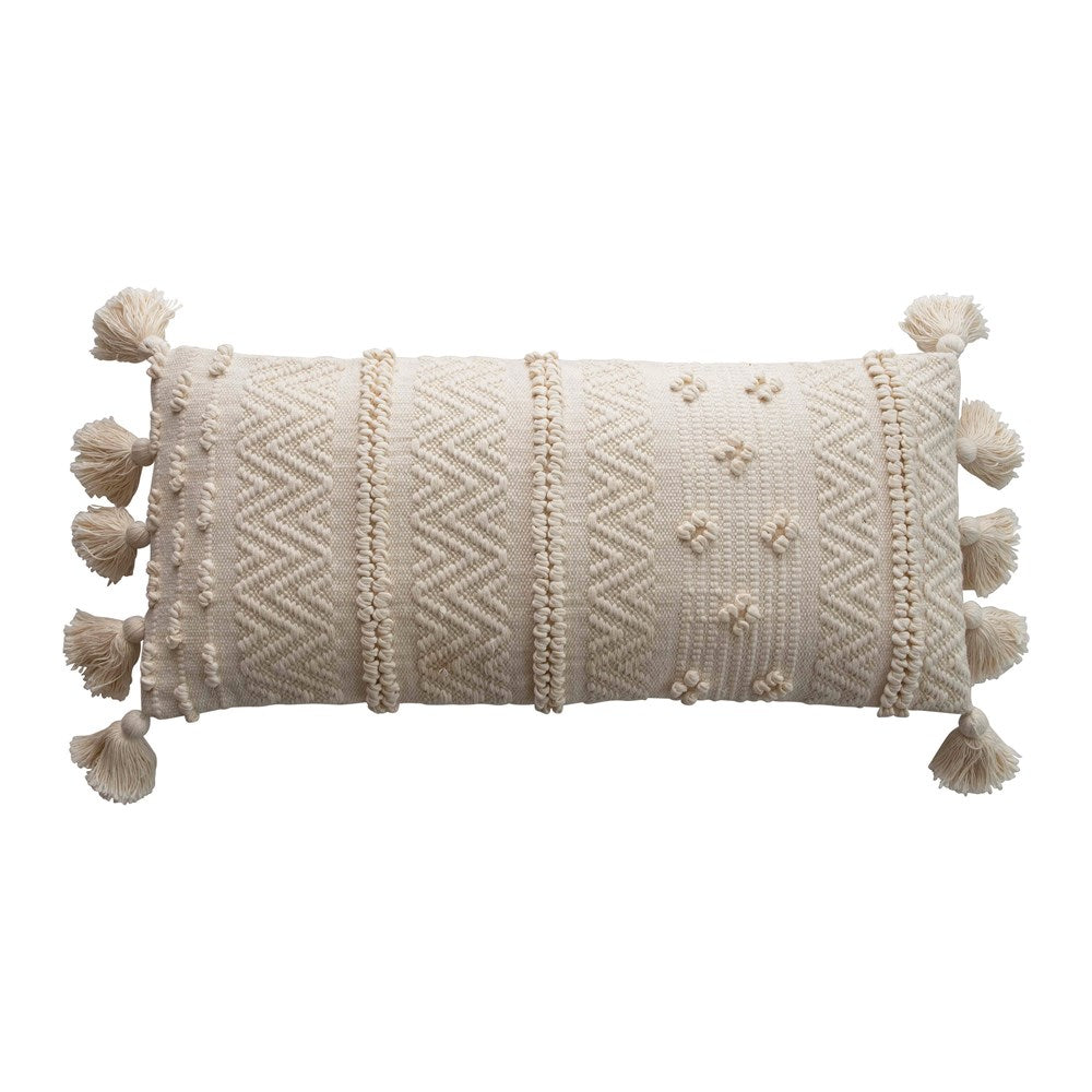 Woven Cotton Lumbar Pillow with Pompoms