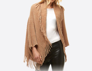 Chenille Knit Shrug with Tassels