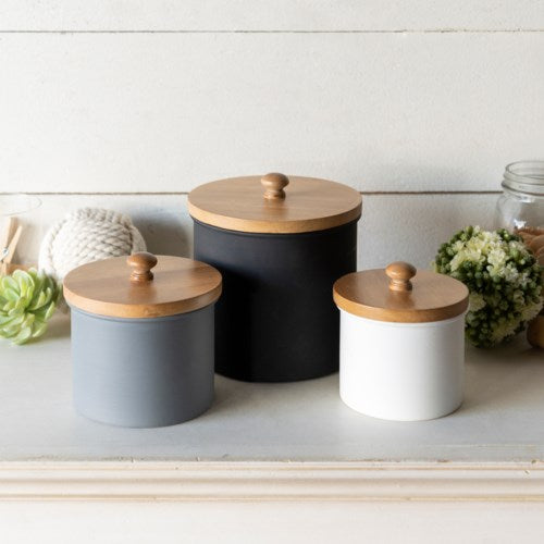 Wood and Metal Canisters- Set of 3