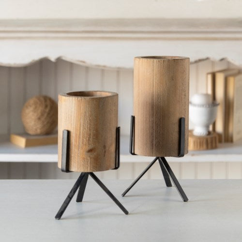 Moden Wood Candle Holder