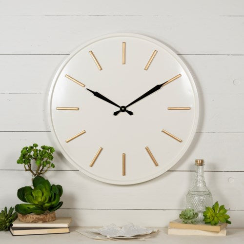 White and Gold Metal Wall Clock