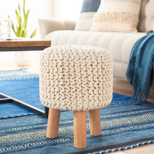 Accent Pouf Stool - Ivory Finish