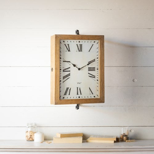 Swivel Wooden Clock on Bracket