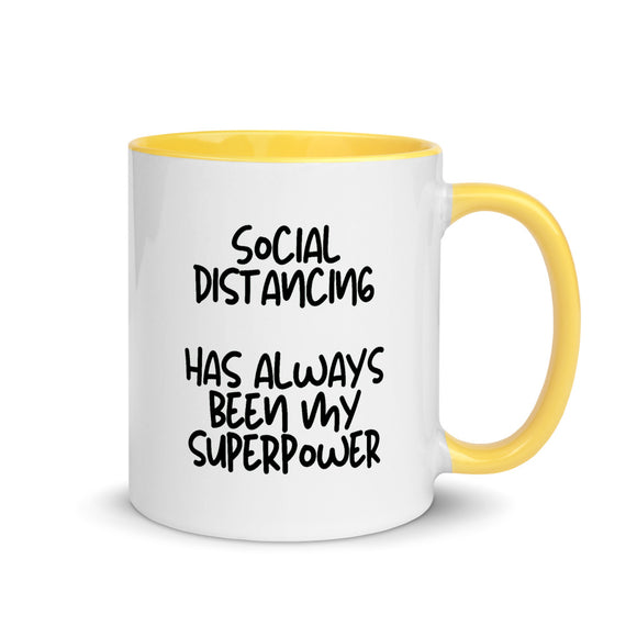 social distancing superpower white/yellow mug