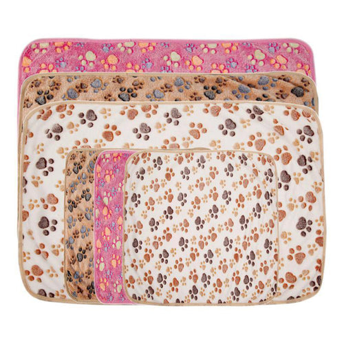 Comfortable Pet Bed Mats Sleep Flora Paw Print Dog - HeirOasis Emporium