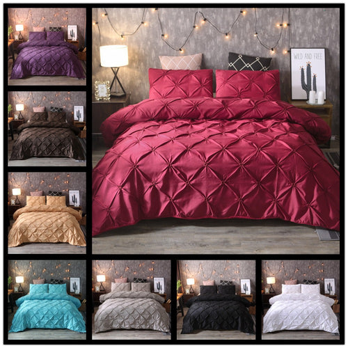 Pinch Pleat Duvet Cover Bedding Set - HeirOasis Emporium