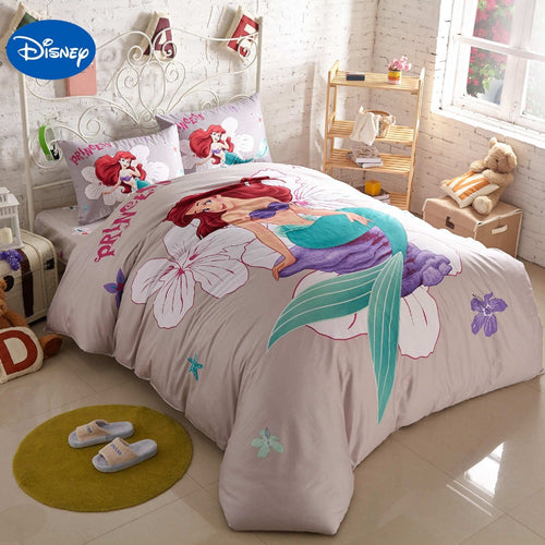 Little Mermaid Bedroom Decor Cotton Duvet Cover Set - HeirOasis Emporium