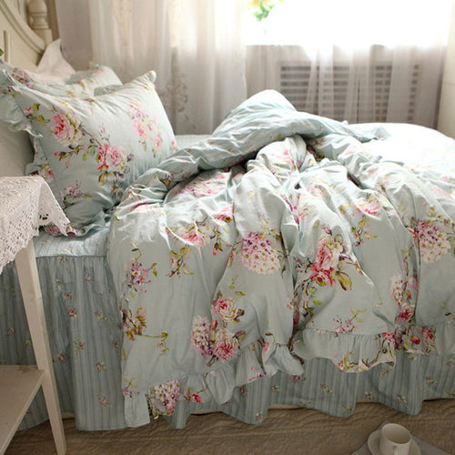 New European Rustic Flower Print Duvet Cover Bedding - HeirOasis Emporium