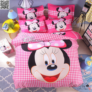 Disney Mickey Minnie Mouse Bedding Set Twin Full Queen King Single Double Super King Size Duvet Cover Pillow Cases 3pcs New - HeirOasis Emporium