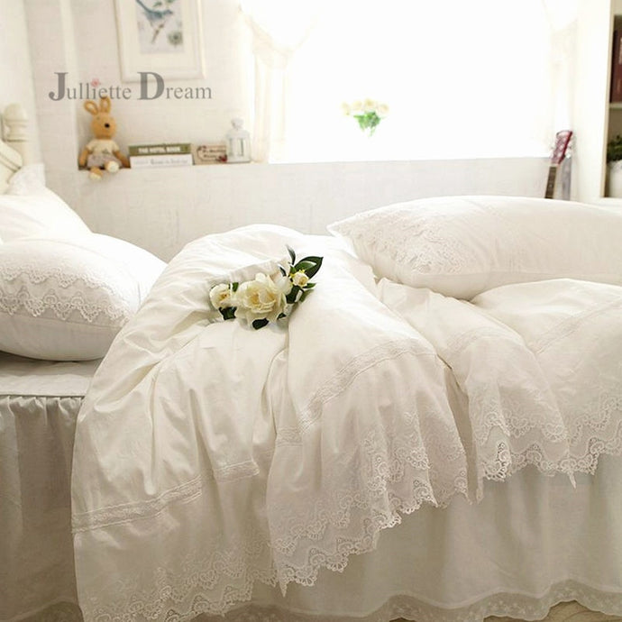 White Luxury Lace Duvet Set - HeirOasis Emporium