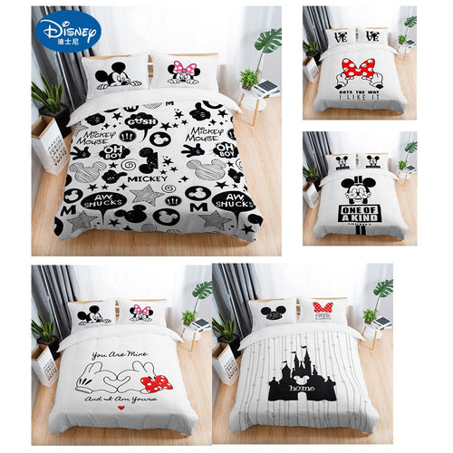 3Pcs Black & White Mickey Mouse Bedding Sheets - HeirOasis Emporium