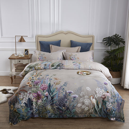 100% Egyptian Cotton Bedding 4Pcs Shaby Duvet Cover, Bed Sheets & Pillow Shams - HeirOasis Emporium