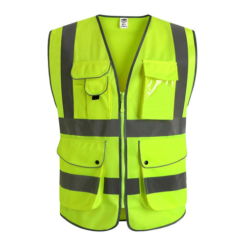 Yellow Safety Vest With Reflective Strips, 9 Pockets