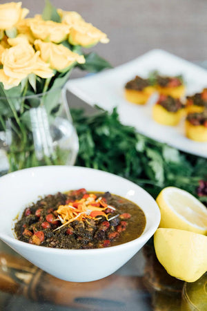 Bean Stew: 12 oz container of vegetarian Persian stew (ghormeh sabzi)