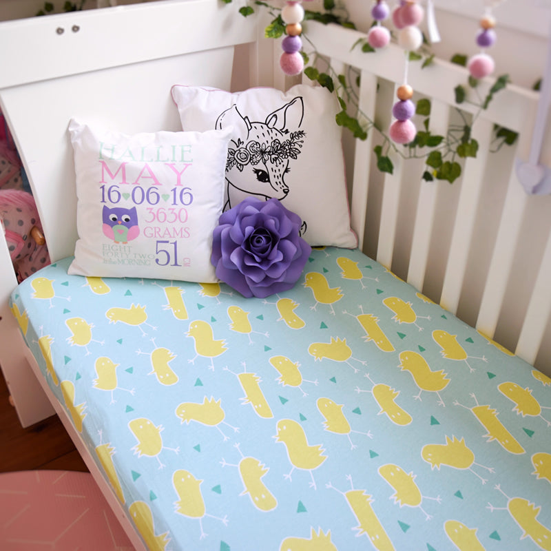JERSEY COTTON CRIB SHEETS - CHICKADEES (ORGANIC COTTON)