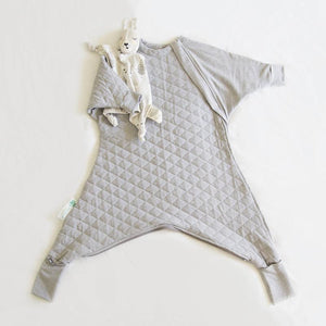 Toddler sleep suit with unique inner leg zipper and winter warmth