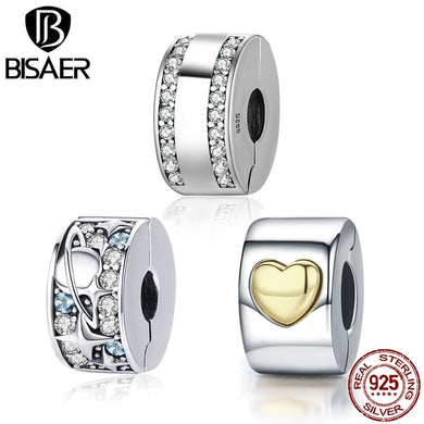 BISAER Authentic 925 Sterling Silver Stopper Clip Heart Star Charm Clear CZ Beads fit Charm Silver 925 Bracelet Jewelry Making