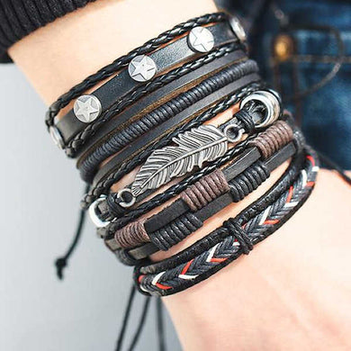 Multilayer Handmade Leather Bracelet Braided Feather, Owl, US Dollar, Star Shape