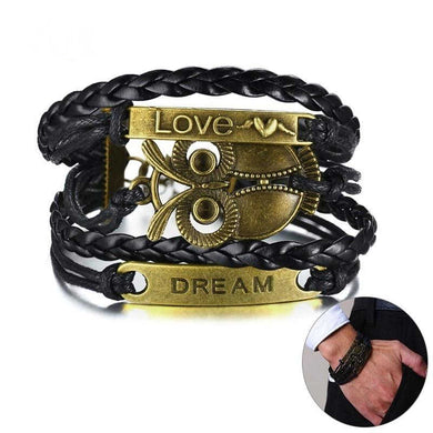 Vnox owl Charm Bracelets for Men Women Multi Layers Baided Leather with LOVE DREAM Bar Bangle Adjustable Length Pulseira