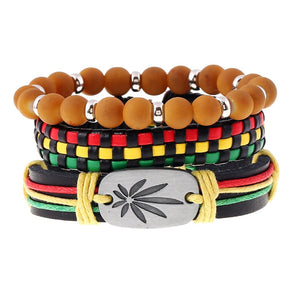 3pcs/set Jamaica Handmade Leather Weed Bracelet Ethnic Hiphop Reggae Beads Strand Bracelet for Women Gifts Red String Wristband