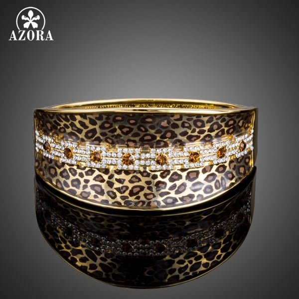 AZORA Party Jewelry Leopard Pattern Gold Color Stellux Austrian Crystal Cuff Bangle Bracelet TB0078