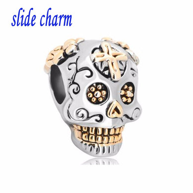 slide charm Free shipping New Plate Cross Skull And Fit  Beads Charms Bracelets All Brands fit Pandora bracelet