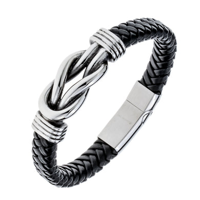 Mens black leather stainless steel hawk bracelet gold silver color jewelry birthday gifts for dad him boyfriend kids 9