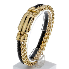 "Load image into Gallery viewer, Mens black leather stainless steel hawk bracelet gold silver color jewelry birthday gifts for dad him boyfriend kids 8.5"" D060"