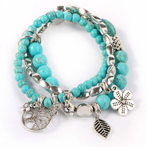 Boho Vintage Turquoises Natural Stone Beads Bracelet Set for Women Charm Life Tree Flower Leaves Multilayer Bracelets bangles