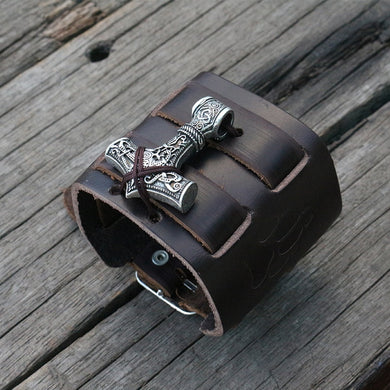1pcs Leather Cuff Viking men Leather Wrist Cuff with mjolnir hammer WARG LEATHER Viking Wolf paw Bracelet Cuff Bangle