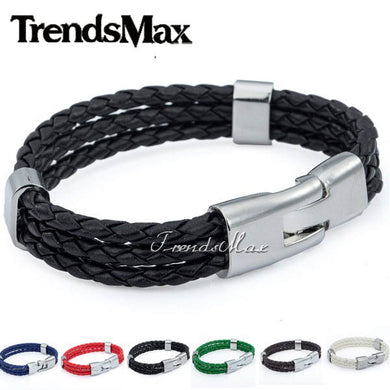 Trendsmax Womens Mens Leather Bracelet 2018 Jewelry 3 Strands Rope Chain Leather Bracelets For Men Gifts Bulk Sale 12mm KLBM40