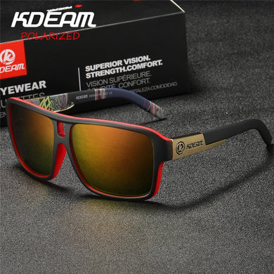 KDEAM Polaroid Goggles Men Sport eyewear With Hard case Square Sunglasses women Brand Driving Polarized Glasses Outdoor KD520